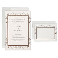 Ivory Brown Scroll Printable Wedding Invitations Kit 50ct