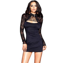Black Spandex Dress with Lace Shrug