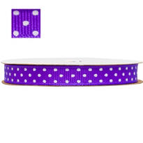 Purple Polka Dot Ribbon 3/8in 12ft