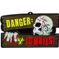 Vacuform Danger Zombies Sign 17in