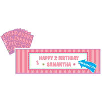 Personalized Girl 1st Birthday Banner