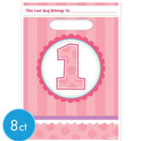 Pink 1st Birthday Favor Bags 8ct