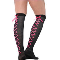 Black and Pink Lace-Up Over-the-Knee Socks