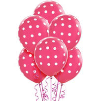 Latex Bright Pink Polka Dot Balloons 12in 6ct