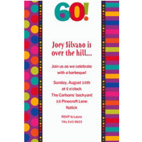 Birthday Dots & Stripes 60 Custom Invitation