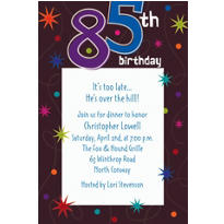 The Party Continues 85 Custom Invitation