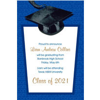 Blue Congrats Grad Custom Graduation Announcement