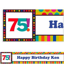 Birthday Dots & Stripes 75 Custom Banner 6ft