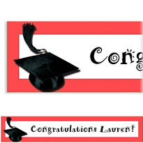 Red Congrats Grad Custom Graduation Banner 6ft