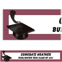 Burgundy Congrats Grad Custom Graduation Banner 6ft