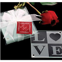 Love Glass Coaster Wedding Favor 4ct