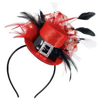 Red & Black Top Hat Headband