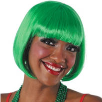 Green Bob Wig with Bangs