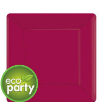 Eco Friendly Raspberry Square Paper Dessert Plates 7in 20ct