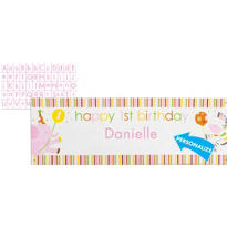 Sweet At One Girls 1st Birthday Banner with Stickers 5ft x 20in