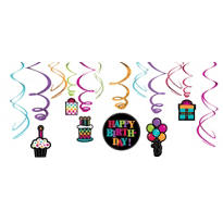Party On Swirl Decorations 12ct