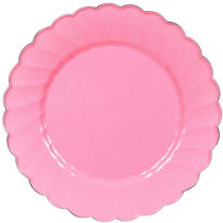 Pink Scalloped Plastic Dinner Plates 10ct
