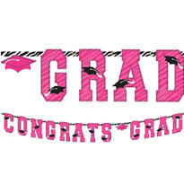 Zebra Party Graduation Letter Banner 10ft