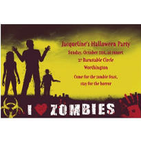Beware Zombies Halloween Custom Invitation