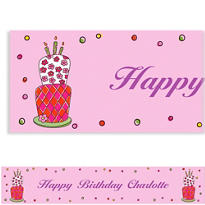 Lovely Birthday Cake Custom Banner 6ft