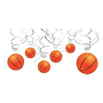 Basketball Swirl Decorations 12ct