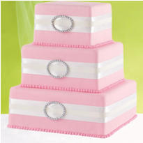 White Rhinestone Ribbon Cake Decoration