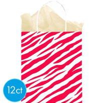 Red Zebra Print Medium Gift Bags 12ct