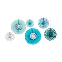 Blue Safari Baby Shower Paper Fan Decorations 6ct