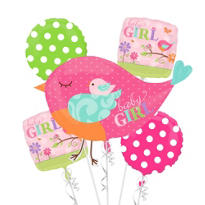 Baby Shower Balloon Bouquet 5pc - Tweet Baby Girl