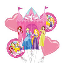 Foil Disney Princess 1st Birthday Balloon Bouquet 5pc