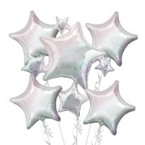 Foil Iridescent Stars Balloon Bouquet 5pc