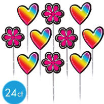 Neon Groovy Cupcake Picks 24ct