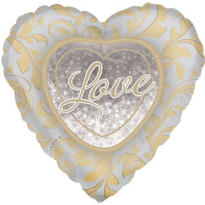 Foil Love Wedding Heart Balloon 32in