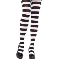 Adult Black and White Wide Stripe Tights