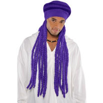Purple Dreadlock Wig with Hat