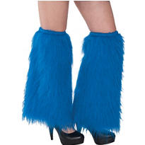Blue Furry Leg Warmers