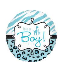 Baby Shower Balloon - Blue Wild Safari It's a Boy