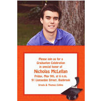 Orange Congrats Grad Custom Photo Invitation