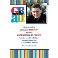 Custom Bravo Grad Stripe Graduation Photo Invitations