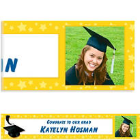 Custom Yellow Congrats Grad Photo Banner 6ft