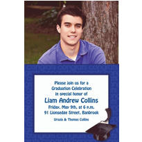Custom Royal Blue Congrats Grad Photo Invitations