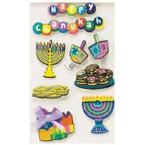 Hanukkah 3D Stickers 6ct