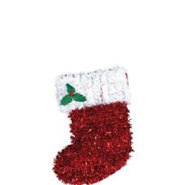 Tinsel Stocking Wreath 13in