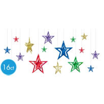 3D Foil Jewel Tone Star Hanging Decorations 16ct