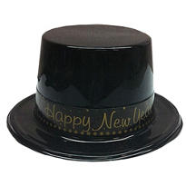 Gold New Years Plastic Top Hat