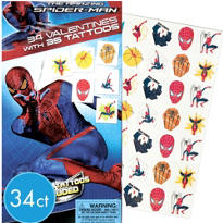 Spider-Man Valentines Day Cards with Tattoos 34ct