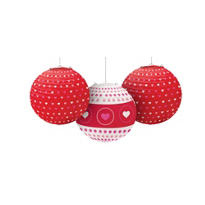 Valentines Day Heart Print Lanterns 3ct