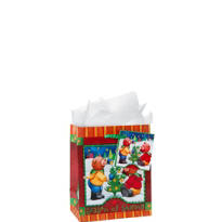 Christmas Teddy Bears Small Gift Bags 12ct