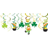 Leprechaun Swirl Decorations 12ct