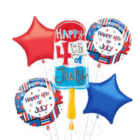 Foil Popsicle Patriotic Balloon Bouquet 5pc